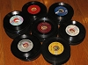 Bulk 45s - 60 - 60 Bulk 45rpm records--variety of eras and directions--mostly in good to excellent condition-many recognizable titles--ranging from 1950s to 1990s, no paper sleeves - G4-to-M10/ - Bulk Vinyl 45rpm Records