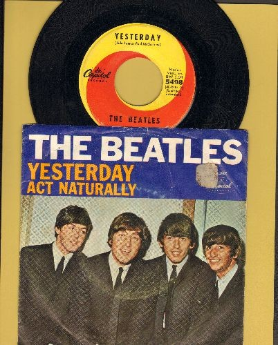 Beatles - Yesterday/Act Naturally (yellow/orange swirl first issue with picture sleeve) - NM9/VG6 - 45 rpm Records