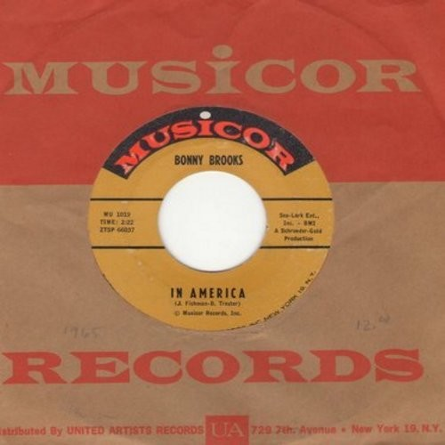 Brooks, Bonny - In America/Going To Church On Sunday (with vintage Musicor company sleeve) - EX8/ - 45 rpm Records