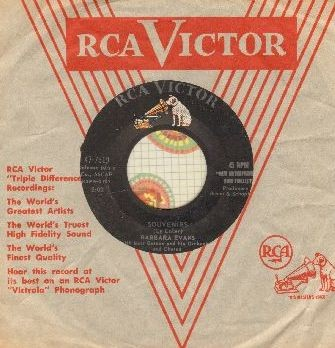 Evans, Barbara - Souvenirs/Pray For Me Mother (with RCA company sleeve) - VG7/ - 45 rpm Records