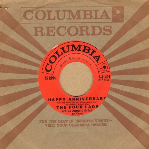Four Lads - Happy Anniversary/Who Do You Think You Are? (with vintage Columbia company sleeve) - EX8/ - 45 rpm Records