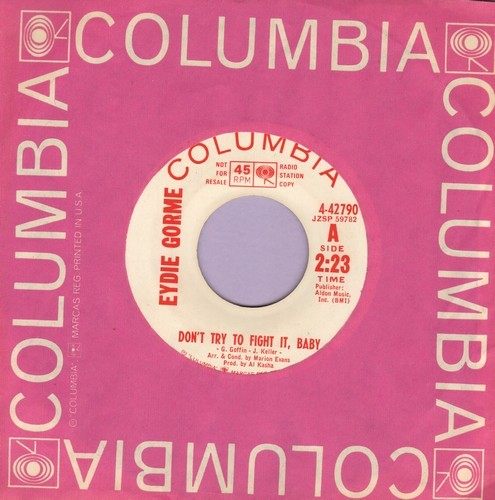 Gorme, Eydie - Don't Try To Fight It, Baby/Theme From Light Fantastic (My Secret World) (DJ advance pressing with vintage Columbia company sleeve) - EX8/ - 45 rpm Records