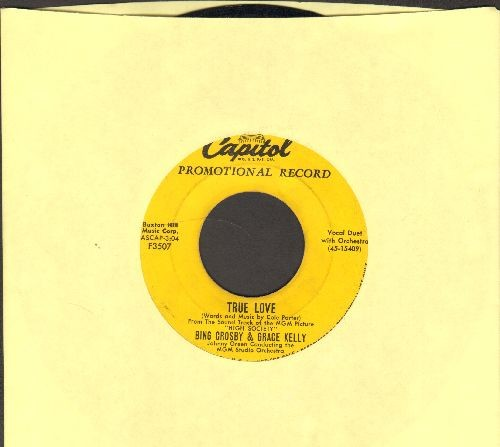 Crosby, Bing & Grace Kelly - True Love/Well Did You Evah? (from film High Society)(yellow label DJ advance pressing) - VG7/ - 45 rpm Records