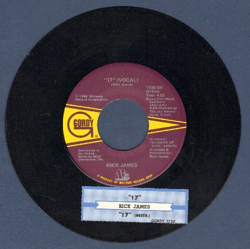 "James, Rick - 17"" (Vocal)/17"" (Instrumental) (with juke box label) - NM9/ - 45 rpm Records"