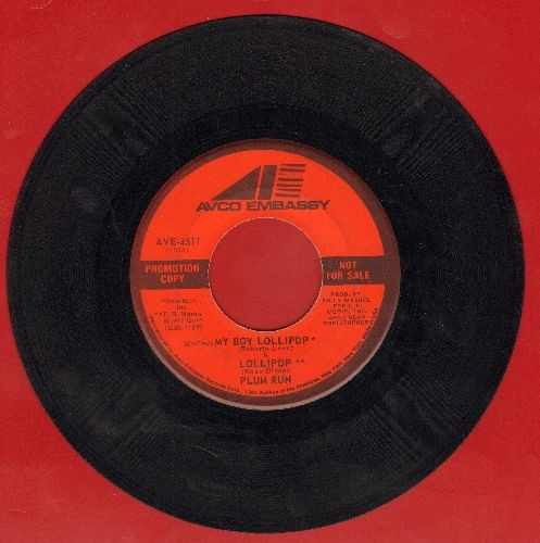Plum Run - My Girl Lollipop (FANTASTIC medley to the tunes of My Boy Lollipop and Lollipop), double-A-sided DJ advance pressing) - EX8/ - 45 rpm Records