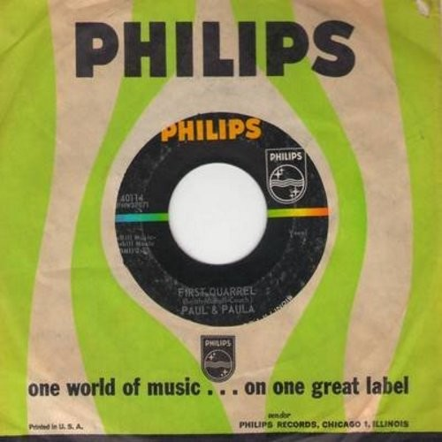 Paul & Paula - First Quarrel/School Is Thru (with Philips company sleeve) - EX8/ - 45 rpm Records