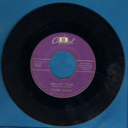Sands, Tommy - Teen-Age Crush/Hep Dee Hootie (purple label first pressing) - VG7/ - 45 rpm Records