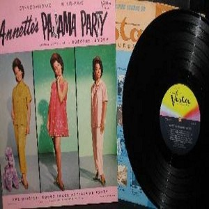 Annette - Annette's Pajama Party - The Original Sound Track (RARE vinyl STEREO LP record, gate-fold cover with Original inner sleeve, Annette's most collectable album in NICE condition!): There Must Be A Reason, It's That Kind Of Day, Among The Young, The