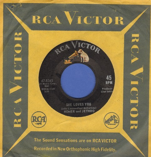 Homer & Jethro - She Loves You (Yeah! Yeah! Yeah!)/I Want To Hold Your Hand (RARE Novelty Answer 2-sider with vintage RCA company sleeve) - EX8/ - 45 rpm Records