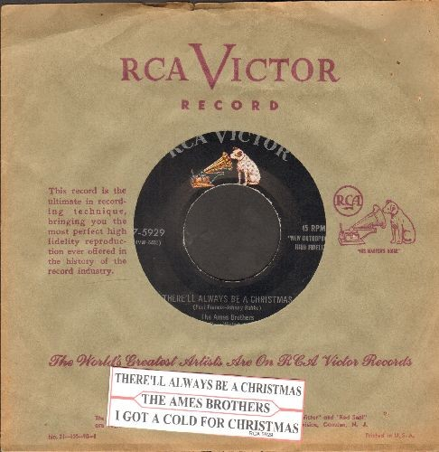 Ames Brothers - There'll Always Be A Christmas/I Got A Cold For Christmas (with RCA company sleeve) - NM9/ - 45 rpm Records
