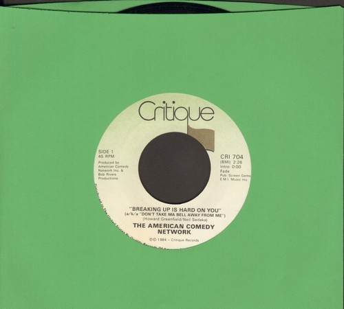 American Comedy Network - Breaking Up Is Hard To Do (a/k/a Don't Take Ma Bell Away From Me)/Krapco's Mr. Cardboard Tube -- Home Psychiatrist -- Gene Splitter (DJ advance pressing, sol) - M10/ - 45 rpm Records