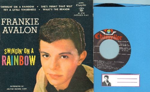 Avalon, Frankie - Swingin' On A Rainbow/She's Funny That Way/Try A Little Tenderness/What's The reason (vinyl EP record with picture cover, NICE condition!) - NM9/NM9 - 45 rpm Records