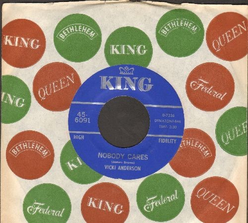 Anderson, Vicki & James Brown - Nobody Cares/Think (NICE condition with vintage King company sleeve) - NM9/ - 45 rpm Records