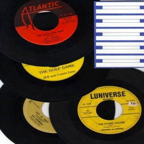 Johnson, Betty, Buchanan & Goodman, Hombres, Jeb & Cousin Easy - Vintage Novelty/Comedy 4-Pack: First issue 45rpm records in very good or better condition with blank juke box labels. Hit titles include Little Blue Man, Let It Out (Let It All Hang Out), Th