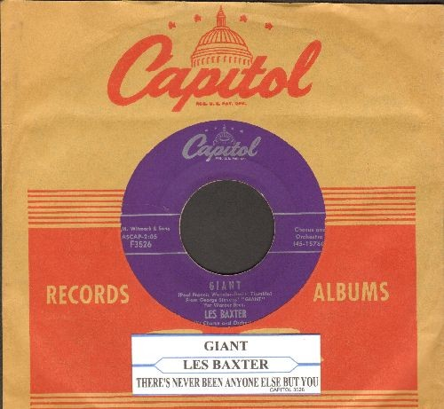 Baxter, Les & Chorus & Orchestra - Giant (RARE vocal theme from film 'Giant-)/There's Never Been Anyone Else But You (with juke box label vintage Capitol company sleeve)  - EX8/ - 45 rpm Records