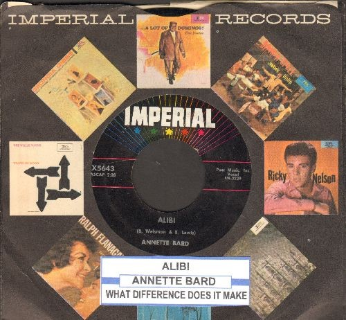 Bard, Annette - Alibi/What Difference Does It Make (with juke box label and vintage Imperial company sleeve) - NM9/ - 45 rpm Records