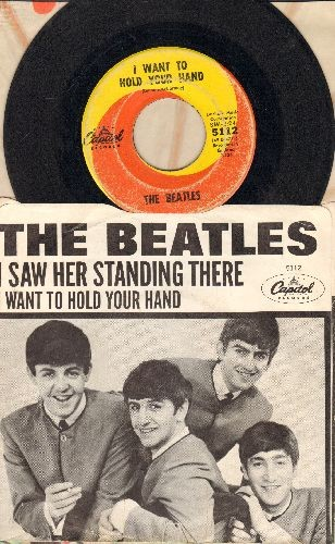 Beatles - I Want To Hold Your Hand/I Saw Her Standing There (first pressing with picture sleeve)(wol/wos) - VG7/EX8 - 45 rpm Records