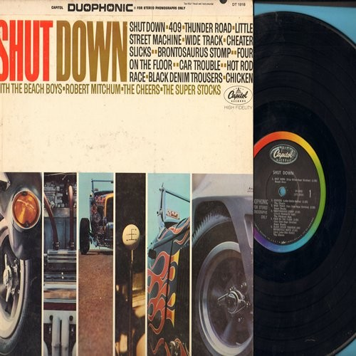 Beach Boys, Robert Mitchum, Cheers, Super Stocks - Shut Down: 409, Thunder Road, Car Trouble, Chicken, Black Denim Trousers (Vinyl Duophonic LP record for STEREO Phonographs Only) - EX8/EX8 - LP Records