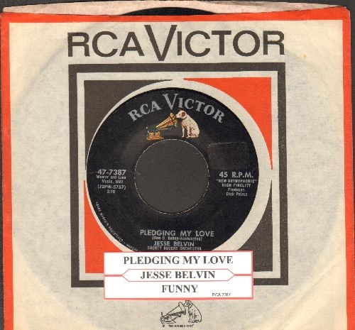 Belvin, Jesse - Pledging My Love/Funny (with vintage RCA company sleeve and juke box label) - EX8/ - 45 rpm Records