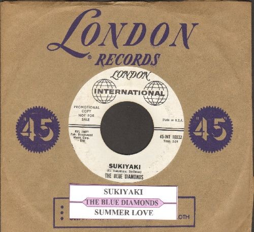 Blue Diamonds - Sukiyaki/Summer Love (RARE US DJ advance pressing sung in English with juke box label and vintage London company sleeve) - EX8/ - 45 rpm Records