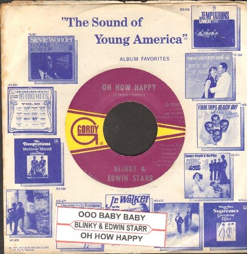 Blinky & Edwin Starr - Ooo Baby Baby/Oh How Happy (with juke box label and Motown company sleeve) - M10/ - 45 rpm Records