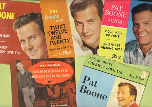 Boone, Pat - Pat Boone vintage 5-Packl of 45s with original picture sleeves. Hits include Bernadine, Spring Rain, Sugar Moon, Twixt Twelve And Twenty,Fools Hall Of Fame. GREAT gift for a fan! - EX8/VG7 - 45 rpm Records
