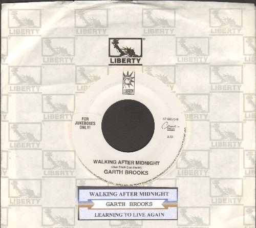 Brooks, Garth - Walking After Midnight/Learning To Live Again (with juke box label and company sleeve) - EX8/ - 45 rpm Records