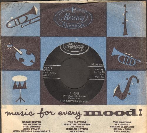 Brother Sisters - Alone (Why Must I Be Alone)/Pass Me The Mustard (with vintage Mercury company sleeve) - EX8/ - 45 rpm Records