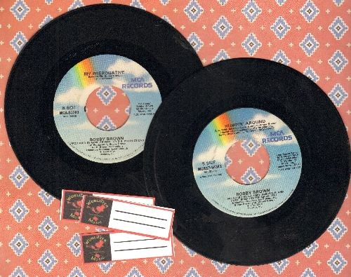 Brown, Bobby - 2 first pressing 45s for the price of 1! Hits include My Prerogative and Humpin' Around. Shipped in plain white paper sleeves with 3 blank juke box labels. Great for a Juke Box! - EX8/ - 45 rpm Records