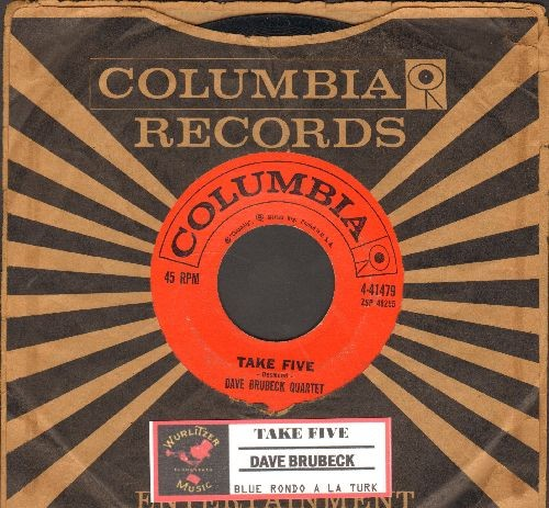 Brubeck, Dave Quartet - Take Five/Blue Rondo A La Turk (with vintage Columbia company sleeve and juke box label) - EX8/ - 45 rpm Records