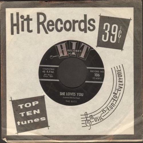 Bugs - She Loves You/Dawn (Go Away) (by The Chellows on flip-side) (contemporary cover versions, with Hit company sleeve) - EX8/ - 45 rpm Records