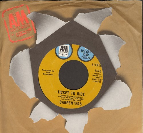Carpenters - Ticket To Ride/(They Long To Be) Close To You (double-hit re-issue with A&M company sleeve) - NM9/ - 45 rpm Records