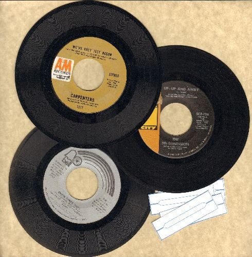 Carpenters, Dawn, Fifth Dimension - Mellow 70's 3-Pack. First issue 45s includes hits Up Up And Away/Knock Three Times/We've Only Just Begun. Shipped in plain paper sleeves with 4 blank juke box labels. - EX8/ - 45 rpm Records
