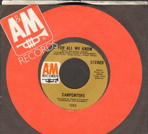 Carpenters - For All We Know/Don't Be Afraid (with A&M company sleeve) - NM9/ - 45 rpm Records