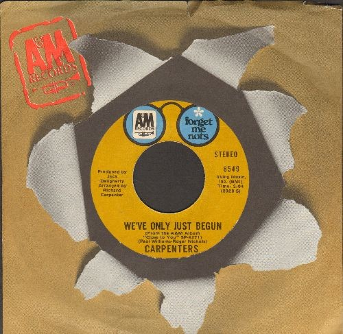 Carpenters - We've Only Just Begun/For All We Know (authentic-looking double-hit re-isue with A&M company sleeve) - NM9/ - 45 rpm Records
