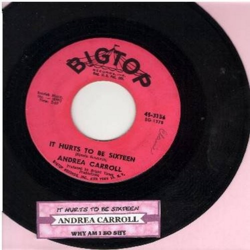 Carroll, Andrea - It Hurts To Be Sixteen/Why Am I So Shy (with juke box label)  - VG7/ - 45 rpm Records
