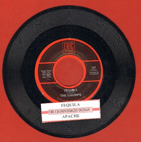 Champs - Tequila/Apache (by Jorgen Ingmann on flip-side) (double-hit re-issue with juke box label) - NM9/ - 45 rpm Records