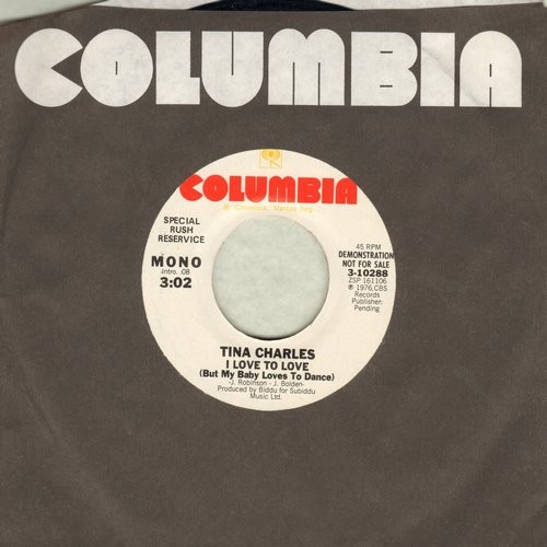 Charles, Tina - I Love To Love (But My Baby Just Loves To Dance) (double-A-sided DJ advance pressing) - EX8/ - 45 rpm Records