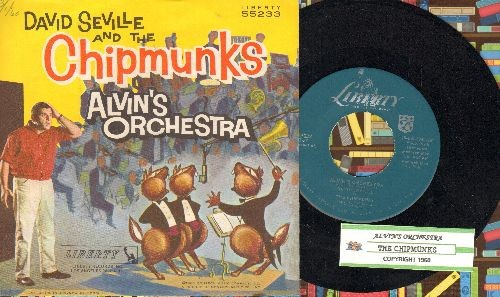 Chipmunks - Alvin's Orchestra/Copyright 1960 (hard-to-find Chipmunks Novelty Record with juke box label and picture sleeve - NICE Condition!) - NM9/NM9 - 45 rpm Records
