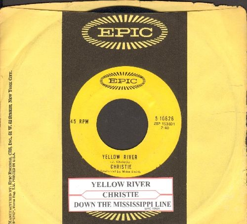 Christie - Yellow River/Down The Mississippi Line (with juke box label and Epic company sleeve) - NM9/ - 45 rpm Records