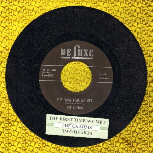 Charms - The First Time We Met/Two Hearts  (authentic-looking re-issue of vintage  recordings with juke box label) - NM9/ - 45 rpm Records