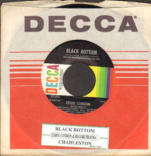 Condon, Eddie - Charleston/Black Bottom (FANTASTIC 1950 recordings of the Classic Flapper Tunes, featuring Jazz Vocals by Peggy Ann Ellis) (with Decca company sleeve and juke box label) - NM9/ - 45 rpm Records