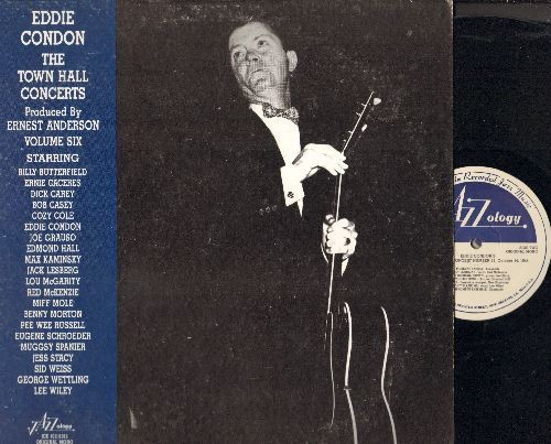 Condon, Eddie - The Town Hall Concerts Vol. 6: Honeysuckle Rose, Jelly Roll, Sugar, Sweet Lorraine, Muskrat Ramble (2 vinyl LP rewcords, gate-fold cover, 1988 re-issue of vintage Jazz recordings) - NM9/EX8 - LP Records