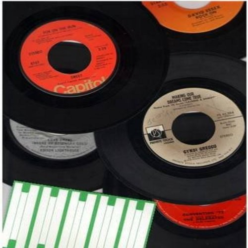 Essex, David, Sweet, Cyndi Grecco, Delegates, Edison Lighthouse - 70's 5-Pack: First issue 45rpm records, all in very good to excellent condition, in white paper sleeves with blank juke box labels. Hits include Rock On, Fox On The Run, Making Our Dreams C