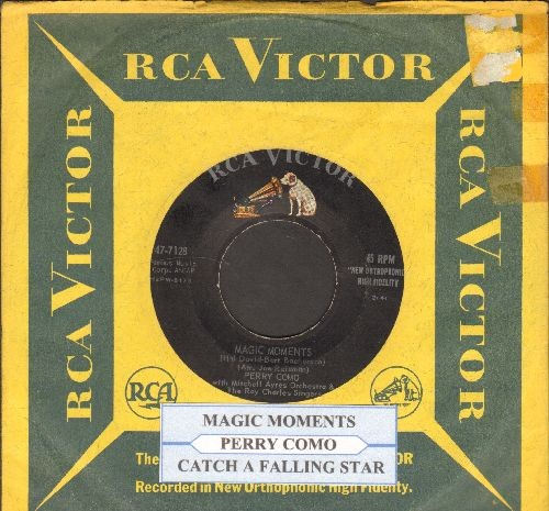 Como, Perry - Magic Moments/Catch A Falling Star (with juke box label and vintage RCA company sleeve) - VG7/ - 45 rpm Records