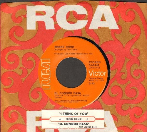 Como, Perry - El Condor Pasa/I Think Of You (with juke box label and RARE vintage RCA company sleeve) - NM9/ - 45 rpm Records