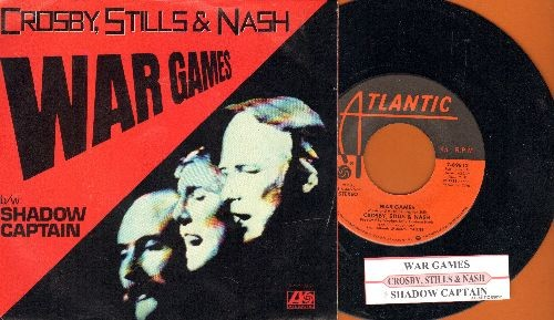 Crosby, Stills & Nash - War Games/Shadow Captain (with picture sleeve and juke box label) - NM9/NM9 - 45 rpm Records