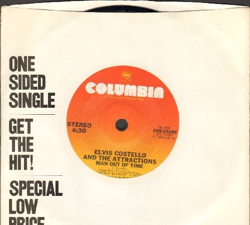 Costello, Elvis & The Attractions - Man Out Of Time  (RARE one-sided 7 inch Styrine record with small spindle hole and company sleeve) - NM9/ - 45 rpm Records