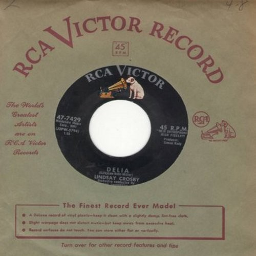 Crosby, Lindsay - Delia/I Know (with vintage RCA company sleeve) - NM9/ - 45 rpm Records