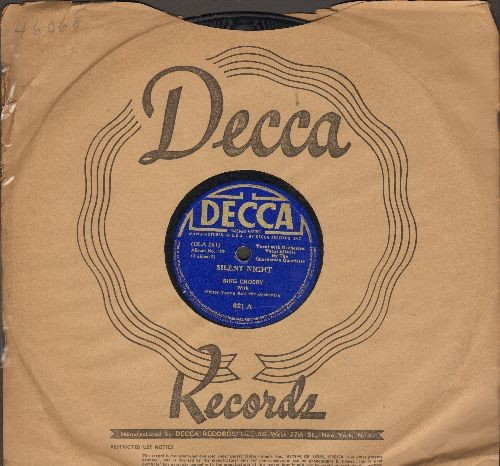 Crosby, Bing - Silent Night/Adeste Fideles (10 inch 78 rpm record, Vintage 1935 Pressing with Decca company sleeve) - VG7/ - 45 rpm Records